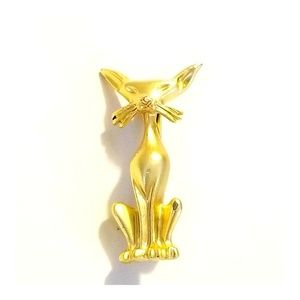 Mid Century Gold Atomic Kitty Brooch, Atomic Cat